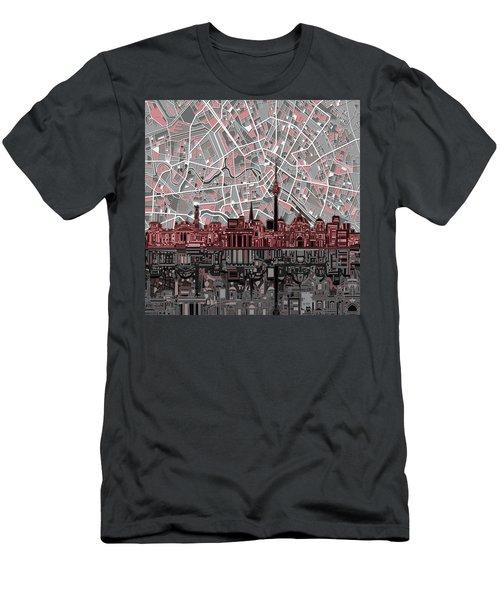 Berlin City Skyline Abstract Men's T-Shirt (Slim Fit) by Bekim Art