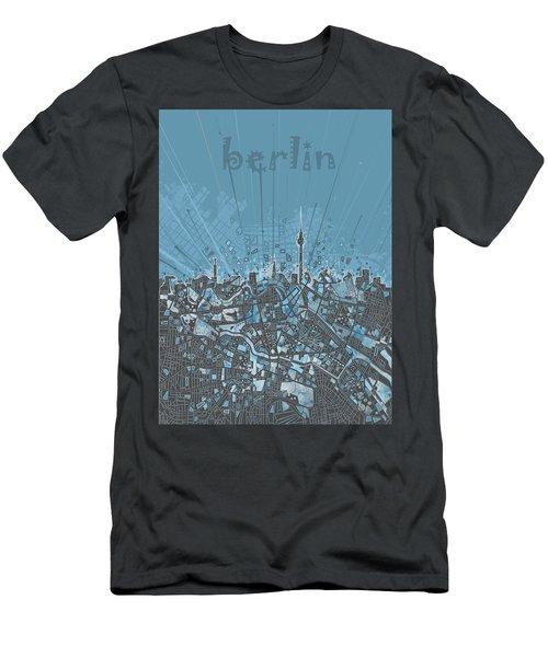 Berlin City Skyline Map 3 Men's T-Shirt (Slim Fit) by Bekim Art
