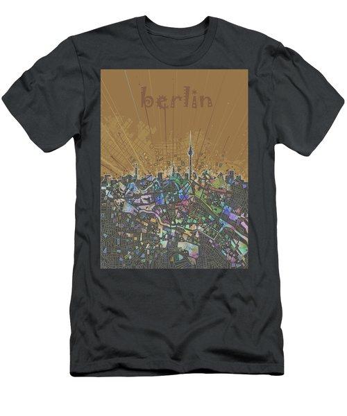 Berlin City Skyline Map 4 Men's T-Shirt (Slim Fit) by Bekim Art