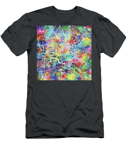 Berlin Map Watercolor Men's T-Shirt (Slim Fit) by Bekim Art