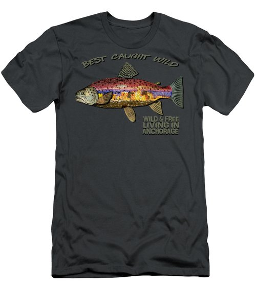 Fishing - Best Caught Wild-on Dark Men's T-Shirt (Slim Fit) by Elaine Ossipov