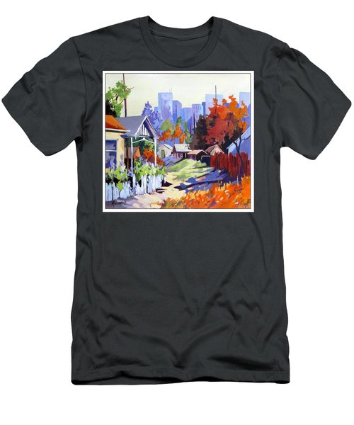 Men's T-Shirt (Slim Fit) featuring the painting Beyond The City Limits by Rae Andrews