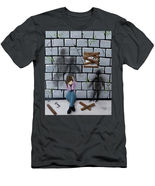 Men's T-Shirt (Slim Fit) featuring the painting Beyond The Wall by Teresa Wing