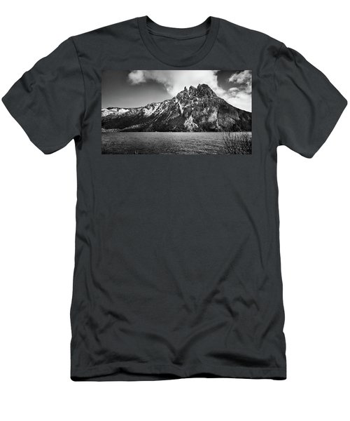 Big Snowy Mountain In Black And White Men's T-Shirt (Athletic Fit)