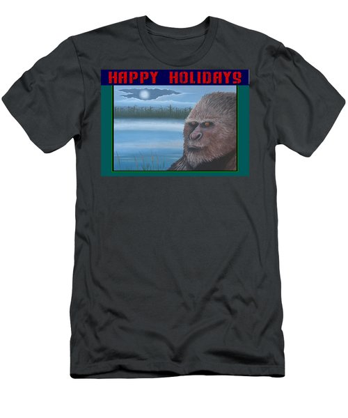 Men's T-Shirt (Slim Fit) featuring the painting Bigfoot Happy Holidays by Stuart Swartz