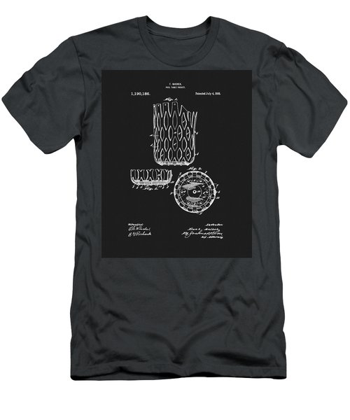 Men's T-Shirt (Slim Fit) featuring the mixed media Billiards Table Pocket Patent by Dan Sproul
