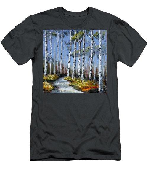 Birch Tree Path Men's T-Shirt (Slim Fit) by Trina Teele