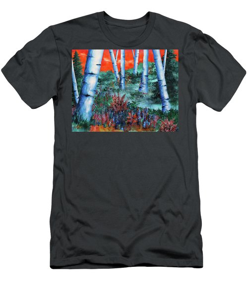 Birch Trees At Sunset Men's T-Shirt (Slim Fit) by Curtiss Shaffer