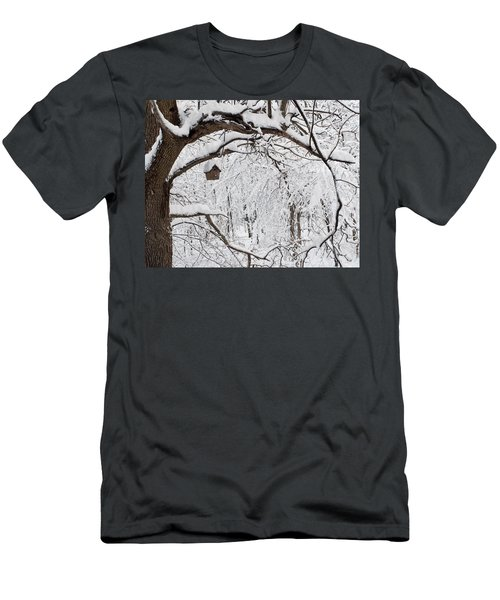 Bird House In Snow Men's T-Shirt (Athletic Fit)
