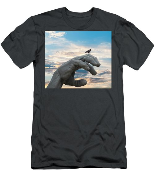 Bird On Hand Men's T-Shirt (Athletic Fit)