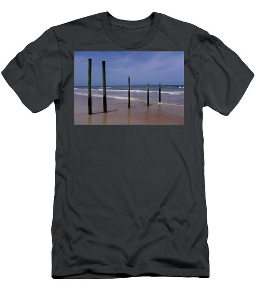 Bird On One Of Five Poles In Daytona Beach Florida Men's T-Shirt (Athletic Fit)
