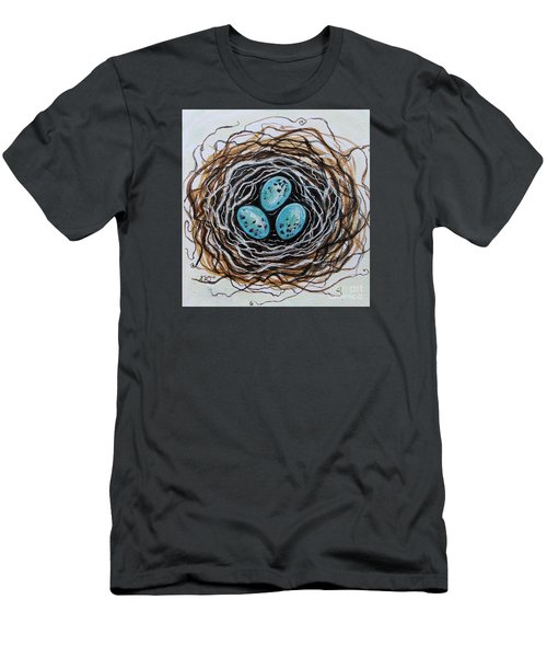 Birdnest Botanical Study Men's T-Shirt (Slim Fit) by Elizabeth Robinette Tyndall