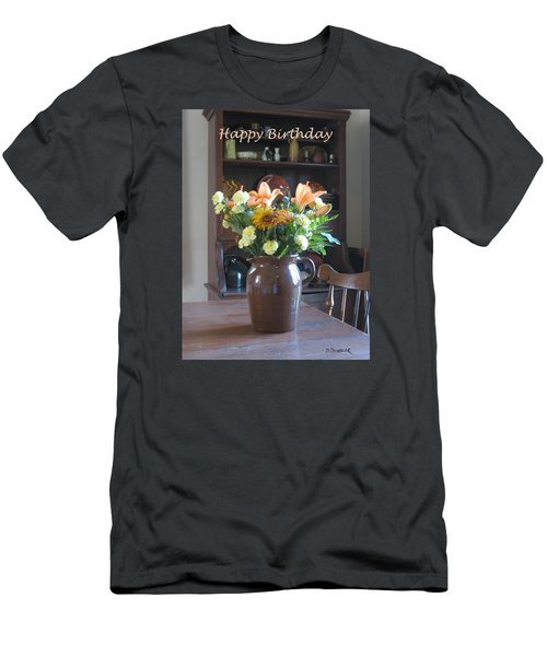 Birthday Jug Of Flowers Men's T-Shirt (Slim Fit) by Deborah Dendler