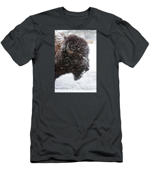 Bison In Snow Men's T-Shirt (Athletic Fit)
