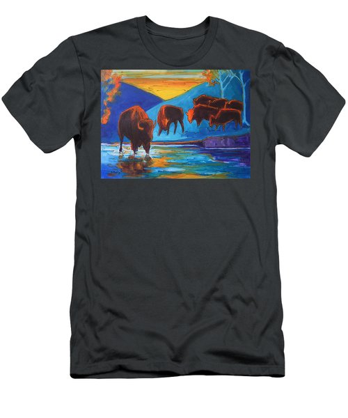 Bison Turquoise Hill Sunset Acrylic And Ink Painting Bertram Poole Men's T-Shirt (Slim Fit) by Thomas Bertram POOLE
