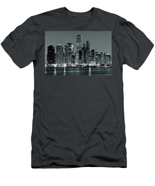 Men's T-Shirt (Slim Fit) featuring the photograph Black And White And Grey Chicago Night by Frozen in Time Fine Art Photography