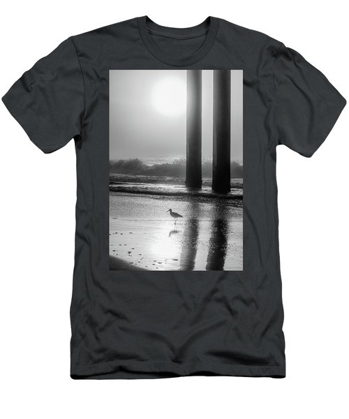 Men's T-Shirt (Slim Fit) featuring the photograph Black And White Bird Beach by John McGraw