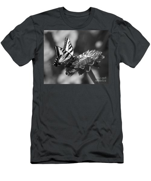 Black And White Butterfly On Zinnia Men's T-Shirt (Athletic Fit)