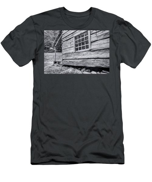 Black And White Cabin In The Forest Men's T-Shirt (Athletic Fit)