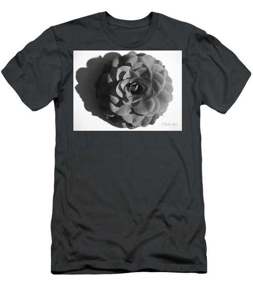 Camellia In Black And White Men's T-Shirt (Athletic Fit)