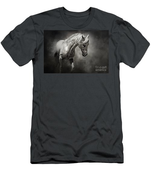 Black And White Horse - Equestrian Art Poster Men's T-Shirt (Athletic Fit)