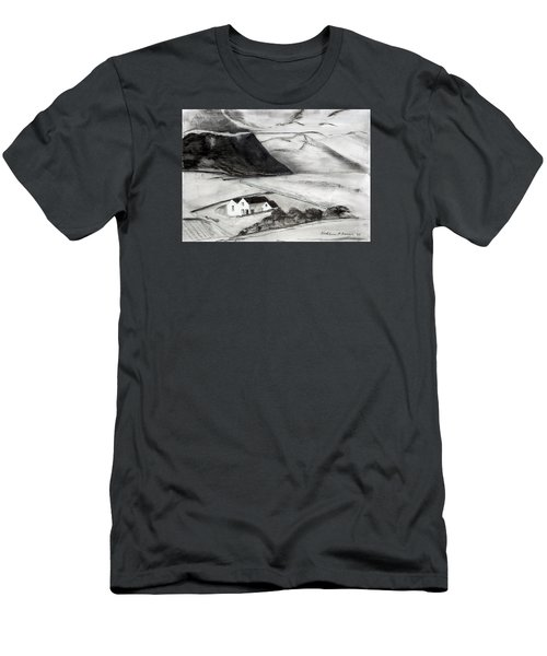 Black And White House And Hills Men's T-Shirt (Athletic Fit)