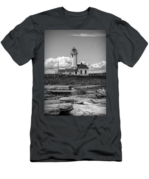 Black And White Lighthouse With Driftwood Men's T-Shirt (Athletic Fit)