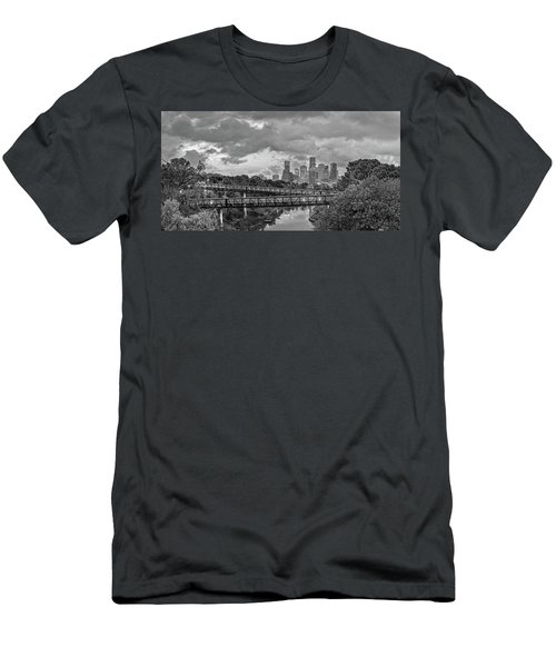 Black And White Panorama Of Downtown Houston And Buffalo Bayou From The Studemont Bridge - Texas Men's T-Shirt (Athletic Fit)