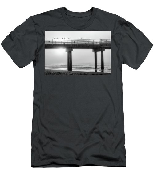 Men's T-Shirt (Slim Fit) featuring the photograph Black And White Pier Alabama  by John McGraw