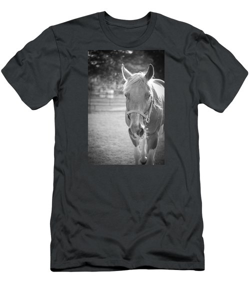 Men's T-Shirt (Slim Fit) featuring the photograph Black And White Portrait Of A Horse In The Sun by Kelly Hazel
