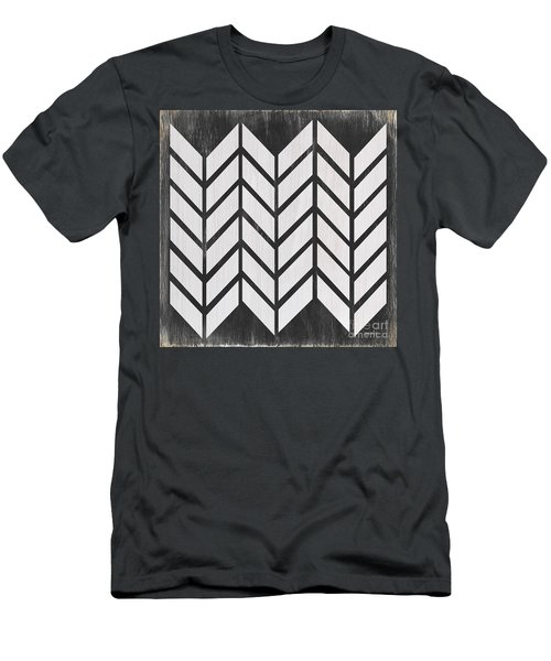 Men's T-Shirt (Slim Fit) featuring the painting Black And White Quilt by Debbie DeWitt
