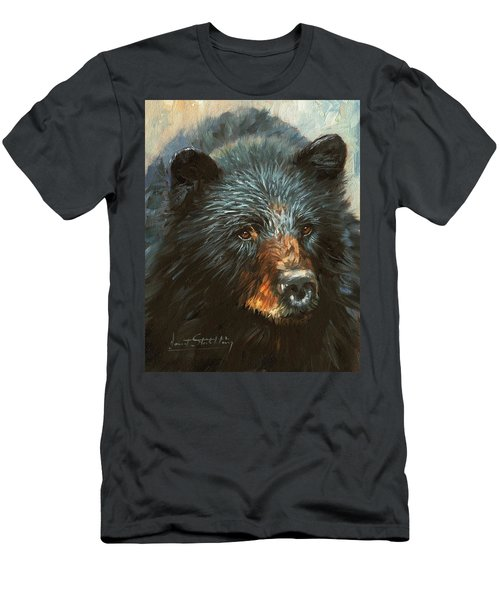 Men's T-Shirt (Slim Fit) featuring the painting Black Bear by David Stribbling