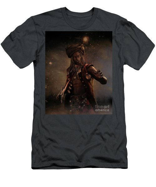 Men's T-Shirt (Slim Fit) featuring the digital art Black Caesar Pirate by Shanina Conway