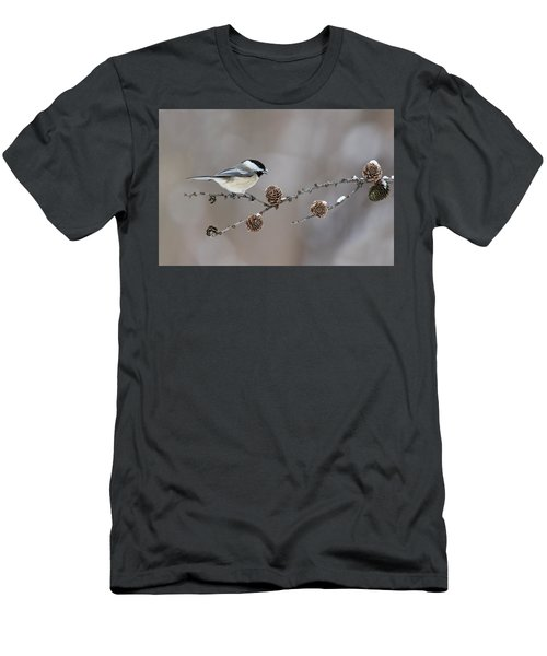 Men's T-Shirt (Slim Fit) featuring the photograph Black-capped Chickadee by Mircea Costina Photography