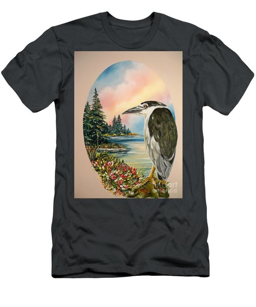 Men's T-Shirt (Slim Fit) featuring the painting Black Crowned Heron by Sigrid Tune