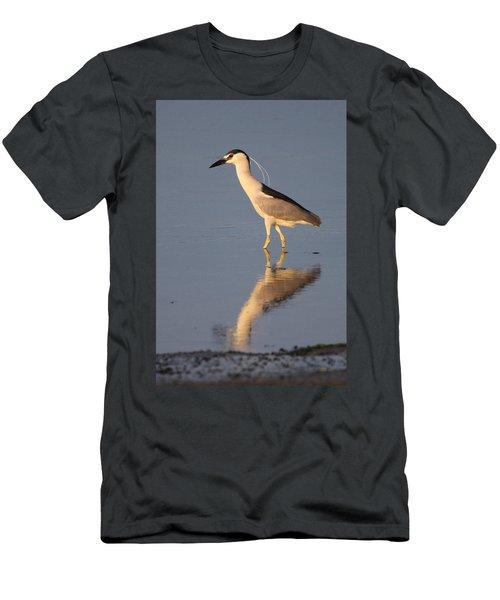 Black Crowned Night Heron Kings Park New York Men's T-Shirt (Slim Fit) by Bob Savage