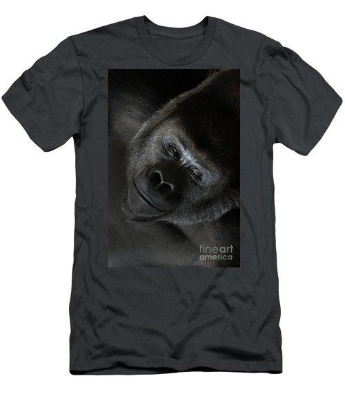 Black Gorilla Smile Men's T-Shirt (Athletic Fit)