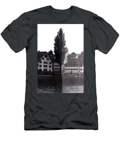Black Lucerne Men's T-Shirt (Slim Fit) by Christian Eberli