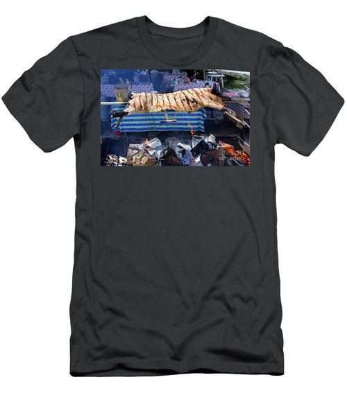 Men's T-Shirt (Slim Fit) featuring the photograph Black Pig Spit Roasted In Taiwan by Yali Shi