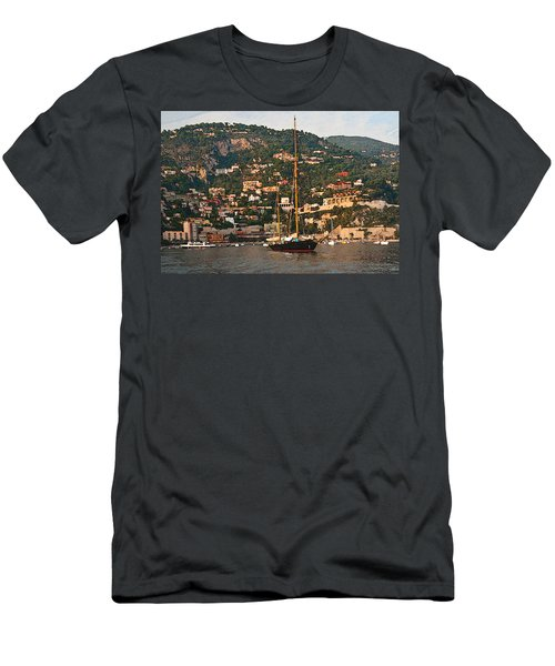 Black Sailboat At Villefranche II Men's T-Shirt (Athletic Fit)