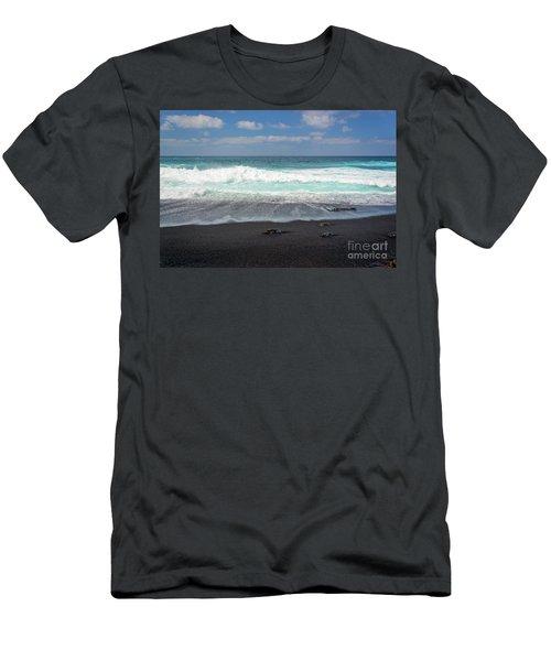 Black Sand Beach Men's T-Shirt (Athletic Fit)