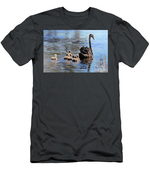 Men's T-Shirt (Athletic Fit) featuring the painting Black Swan And Cygnets No 2 by Ryn Shell