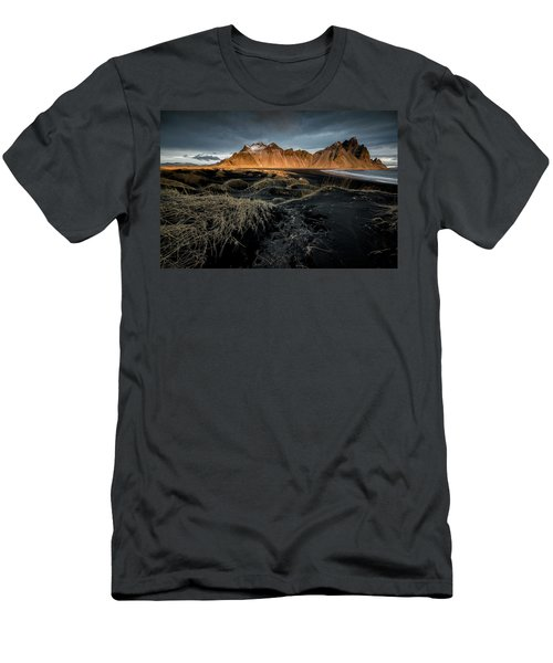 Men's T-Shirt (Slim Fit) featuring the photograph Blackbeach And Vestrahorn by Allen Biedrzycki