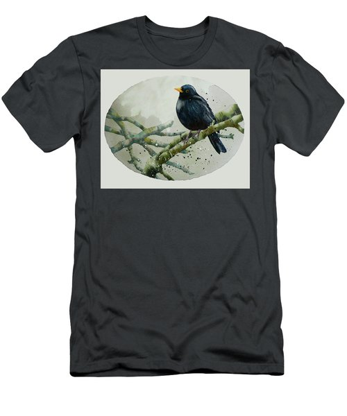 Blackbird Painting Men's T-Shirt (Slim Fit) by Alison Fennell