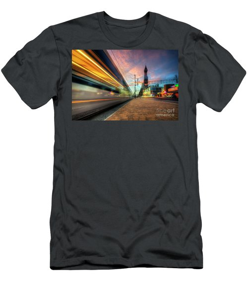 Men's T-Shirt (Slim Fit) featuring the photograph Blackpool Tram Light Trail by Yhun Suarez