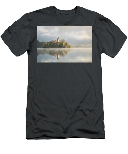 Men's T-Shirt (Athletic Fit) featuring the photograph Bled Lake On A Beautiful Foggy Morning by IPics Photography