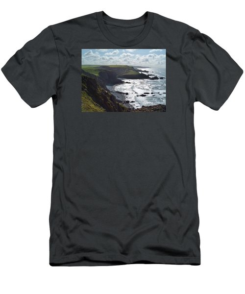 Blegberry Cliffs From Damehole Point Men's T-Shirt (Slim Fit) by Richard Brookes