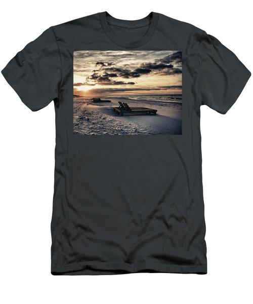 Blue And Orange Sunrise On The Beach Men's T-Shirt (Athletic Fit)