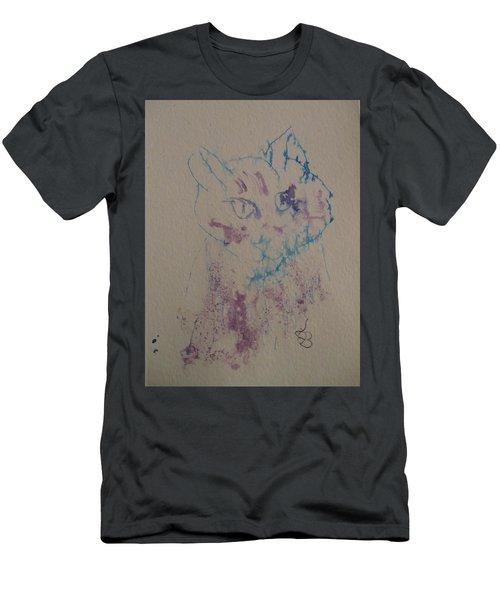 Blue And Purple Cat Men's T-Shirt (Slim Fit) by AJ Brown