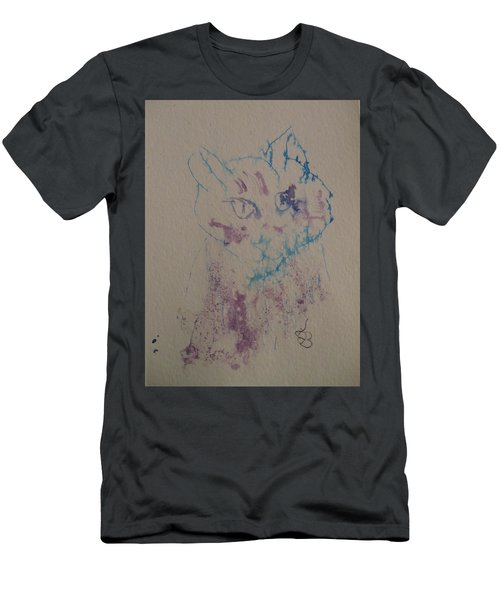 Blue And Purple Cat Men's T-Shirt (Athletic Fit)
